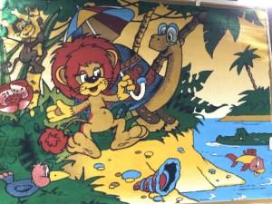 Детский ковер львенок и черепаха