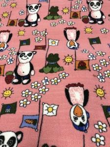 Покрытие для детской комнаты - розовое для девочки с пингвинами и пандами